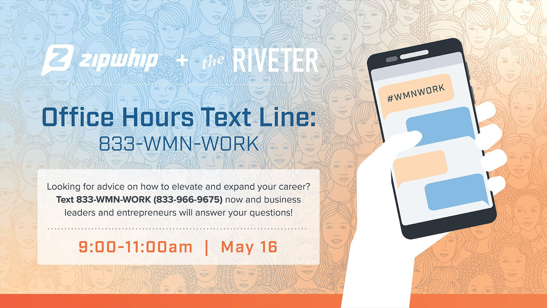 833-WMN-WORK, The Riveter's New Partnership with Zipwhip