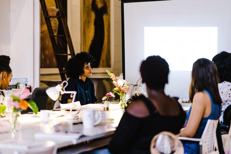 women at meeting