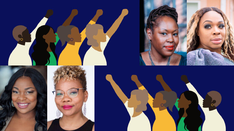 A montage of black women activists along with illustrations of women with raised fists