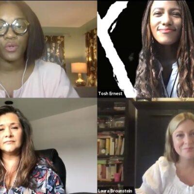 4 women having a Zoom meeting