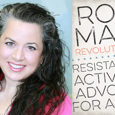 Headshot of author Elisa Camahort Page alongside the cover of her book, Roadmap for Revolutionaries