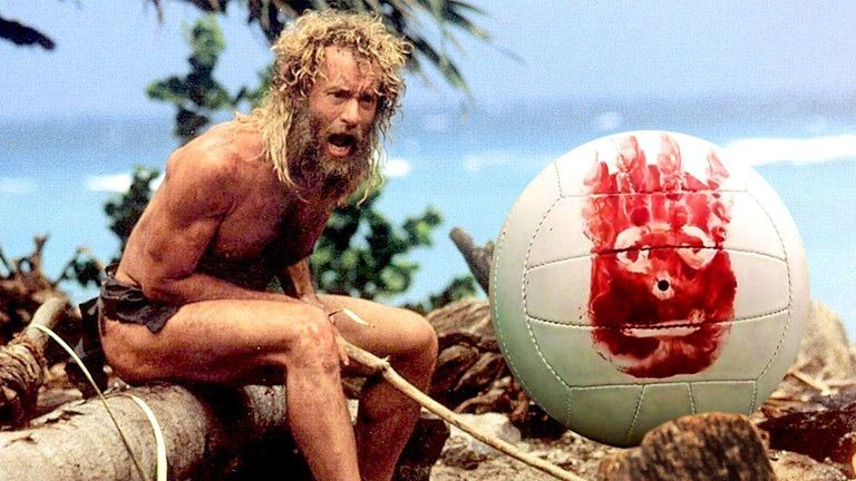 Tom Hanks in CAST AWAY, yelling at Wilson the Volleyball.